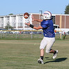 Winnacunnet's Seamus Fenlon runs a route while looking for the pass during Tuesday's Football Practice on 8-23-2016 at WHS.  Matt Parker Photos