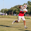 Winnacunnet Senior Liam Viviano reaches up to make a catch during Tuesday's Football Practice on 8-23-2016 at WHS.  Matt Parker Photos