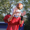 Winnacunnet Freshman Robert Withee runs a slant play keeping his eye on the ball and making the catch during Tuesday's Football Practice on 8-23-2016 at WHS.  Matt Parker Photos