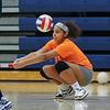Winnacunnet's Lauren Ruffin gets low to get the ball during Monday's practice on 8-29-2016 @ WHS.  Matt Parker Photos