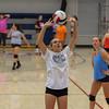 Winnacunnet Freshman Sarah Taylor sets the ball during Monday's Girls Volleyball practice on 8-29-2016 @ WHS.  Matt Parker Photos