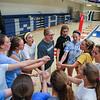 Winnacunnet Head Coach Lorie Garand and her team give an end of practice cheer on Monday, 8-29-2016 @ WHS.  Matt Parker Photos