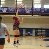 Winnacunnet's Maria Bonenfant spikes the ball over the net during Monday's practice on 8-29-2016 @ WHS.  Matt Parker Photos