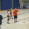Winnacunnet Girls Volleyball Assistant Coach George Sullivan gives instructions during Monday's practice on 8-29-2016 @ WHS.  Matt Parker Photos