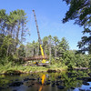 South Branch Footbridge installation day by Daniels Construction and Gail Parker Engineering over the Piscataquog River in New Boston, NH on Thursday 9-22-2016.  Matt Parker Photos