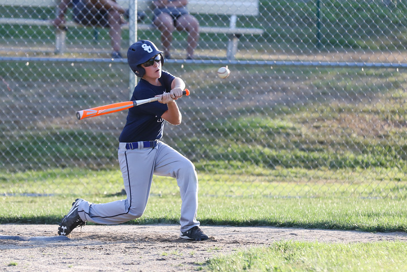 Seacoast U11 batter Jason Pinsonnault gets a hit during practice on Tuesday 7-12-2016 at Governor Weare Field in Hampton Falls, in preparation for the Cal Ripken State Tournament in Keene this coming weekend.  Matt Parker Photos