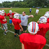 "Coach AJ Gerrish works with the, ""red shirts"" at Monday's 6th Annual Winnacunnet Warriors Veer Football Camp on 8-1-2016 @ WHS.  Matt Parker Photos"