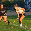 Winnacunnet High School sisters, Senior Alyssa and Freshman Sam Crochetiere are having a successful season playing together on the Warriors Varsity Field Hockey team.  Photos taken after Tuesday's practice on 10-3-2017 @ WHS.  Matt Parker Photos