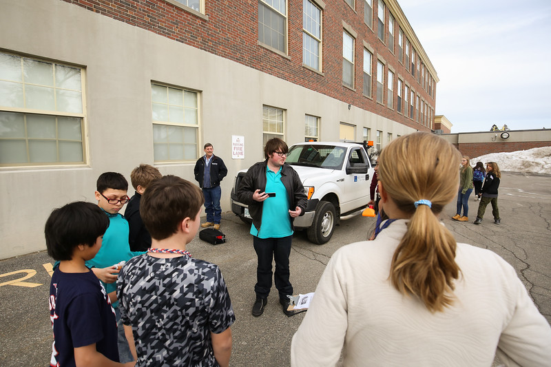 Hampton Union's Max Sullivan at the The Hampton Academy 6th, 7th and 8th grade STEM class with guidance by  UNH students design and build a capsule to protect a raw egg from a 2 story drop onto the parking lot on Tuesday 2-21-2017 @ Hampton Academy Junior High.  Matt Parker Photos
