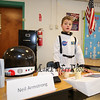 Wax sculpture Neil Armstrong AKA Devan Boyd reflects back to the day when he and his boot were the first to touch the surface of the moon on July 21, 1969 at the Marston School 3rd Grade Wax Museum on Friday 2-3-2017 @ Marston School, Hampton, NH.  Matt Parker Photos