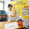 Wax sculpture Babe Ruth AKA George Herman, AKA The Bambino, AKA The Sultan of Swat and AKA Arden Langmaid was a pitcher and home run hitter and finished up his career with the New York Yankees at the Marston School 3rd Grade Wax Museum on Friday 2-3-2017 @ Marston School, Hampton, NH.  Matt Parker Photos