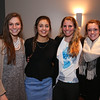 Winnacunnet's Girls Basketball Coach Cassie Turcotte (3rd from left) poses for a photo with her Senior Girls (L to R) Danielle Boucher, Kaya Cadagan and Emily Britton during the Girls Basketball Season Banquet at the Seaglass Restaurant & Lounge, Salisbury, MA. on Thursday, 3-16-2017.  Matt Parker Photos