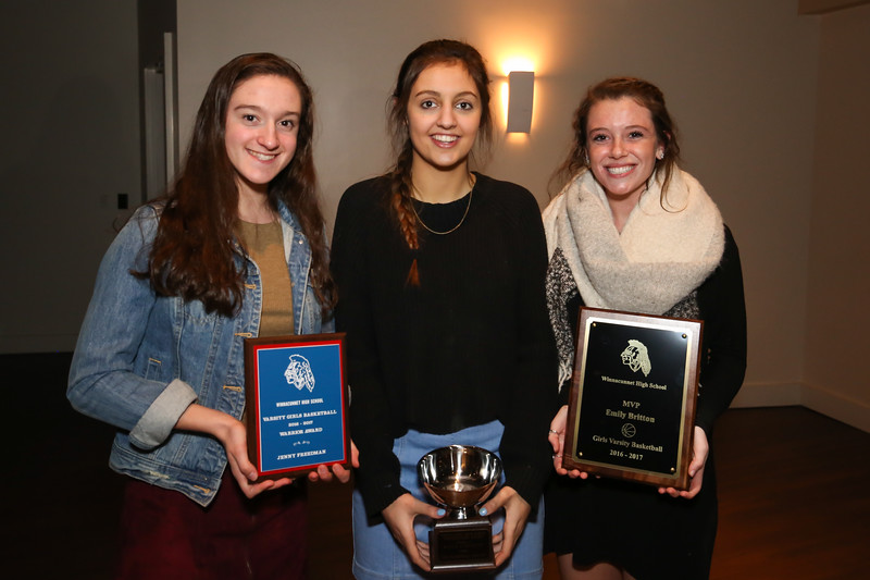 (L to R) Jennifer Freedman was awarded the Warrior Award, the Sportsmanship Award (minus 6 min) went to Kaya Cadagan and MVP to Emily Britton at the 2016-2017 Girls Basketball Season Banquet, Seaglass Restaurant & Lounge, Salisbury, MA. on Thursday, 3-16-2017.  Matt Parker Photos