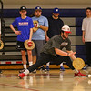 Winnacunnet JR Andrew Mills reaches for a ball during a paddle ball drill at Wednesday's preseason practice on 3-22-2017 @ WHS.  Matt Parker Photos