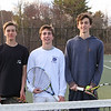 (L to R) Seniors Sam Cranford, Mark Fagan and Max King pose for a photo at Tuesday's Winnacunnet's Boys Tennis practice on 4-18-2017 @ WHS.  Matt Parker Photos