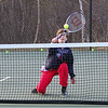 Winnacunnet Warriors Devan Sack makes a play at the net during Tuesday's Boys Tennis practice on 4-18-2017 @ WHS.  Matt Parker Photos