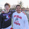 Winnacunnet Warriors Devan Sack and Dimitri Minichello pose for a photo at Tuesday's Boys Tennis practice on 4-18-2017 @ WHS.  Matt Parker Photos