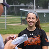 Seabrook 7th grader Sadie Dorman interviews with Hampton Union's Sports Reporter Jay Pinsonnault as she talks about making the final cut to become a member of the Northeast Regional U12  Girls Softball Team to compete in the Nationals this Summer, photos taken on Tuesday 7-12-2017 @ Tuck Field, Hampton, NH.  Matt Parker Photos