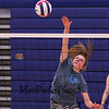 Sophmore Sarah Taylor jumps to spike the ball over the net at Monday's Winnacunnet Girls Volleyball preseason practice on 8-21-2017 @ WHS.  Matt Parker Photos