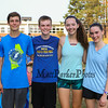 Winnacunnet's Boys and Girls 2017 Cross Country  Captains (L to R) Junior Hayden O'Hara and Seniors Thomas Baker, McKenzy Wall and Jenny Long pose for a photo at Monday's preseason Girls Cross Country workout at WHS on 8-21-2017.  Matt Parker Photos