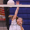 Senior Rose Slayton jumps to put the ball over the net at Monday's Winnacunnet Girls Volleyball preseason practice on 8-21-2017 @ WHS.  Matt Parker Photos