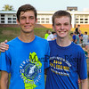 Winnacunnet's Boys 2017 Cross Country  Captains (L to R) Junior Hayden O'Hara and Senior Thomas Baker at Monday's preseason Girls Cross Country workout at WHS on 8-21-2017.  Matt Parker Photos
