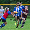 Sr Patrick Cotter gets pressure from Fr Katelyn Scharette (L) and Sr Caroline Meuse (R) at the Winnacunnet Boys and Girls scrimmage at the WHS Summer Soccer Clinic and workout on Tuesday 8-8-2017 @ WHS.  Matt Parker Photos
