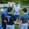 Exeter Baseball All-Star U12 70' pitching coach Rick Davis talks with his players during a break at Monday's practice at Currier Field on 6-12-2017, Exeter, NH.  Matt Parker Photos