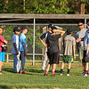 Exeter Baseball All-Star U12 70' coach Matt Perodeau talks with his players at Monday's practice at Currier Field on 6-12-2017, Exeter, NH.  Matt Parker Photos