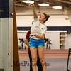 Winnacunnet senior Molly Maynard releases the shot put at Monday's Winter Indoor Track practice on 12-10-2018 at UNH.  Matt Parker Photos