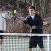 Winnacunnet's Cam Leno makes a play at the net at Wednesday's Boys Tennis practice on 3-28-2018 @ WHS.  Matt  Parker Photos