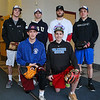 Winnacunnet Boys Baseball senior players (L to R fr row) Max Clarke, Patrick Cotter, back row Evan Welch, Travis Arsenault, Andrew Mills and Cam Charette pose for a photo at Wednesday's preseason practice and workout on 3-28-2018 @ WHS.  Matt Parker Photos