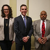 Candidates for Exeter Select Board Member (L to R) Molly Cowan, Nicholas Gray and Darius Thompson at the General Federation of Women's Clubs Voters' Forum 2018 on March, 5th, 2018 @ Exeter Town Office Building, Exeter, NH.  Matt Parker Photos