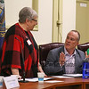 Candidate for Exeter's Swasey Parkway Trustee position Dale Albert speaks with forum moderator Carol Waters, a GFWC member, at the General Federation of Women's Clubs Voters' Forum 2018 on March, 5th, 2018 @ Exeter Town Office Building, Exeter, NH.  Matt Parker Photos