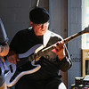 Bruce Jarvis on the bass guitar at the Tributary Brewing Co. Saturday Blues Band on 7-7-2018, Kittery, ME.  Matt Parker Photos