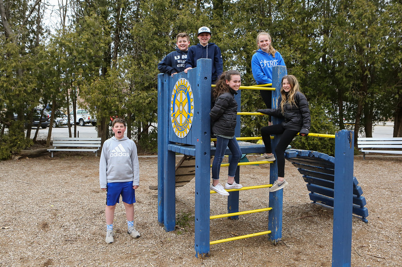 Logan Lochiatto and his friends at the Rotary International playground on Academy Ave on Friday 4-5-2019 @ Hampton, NH.  Matt Parker Photos