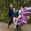 Logan Lochiatto and his friends on a purple T-Rex at the Rotary International playground on Academy Ave on Friday 4-5-2019 @ Hampton, NH.  Matt Parker Photos