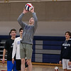 Winnacunnet's Brendon Anderson sets the ball at Monday's Boys Volleyball preseason practice on 4-8-2019 @ WHS.  [Matt Parker/Seacoastonline]