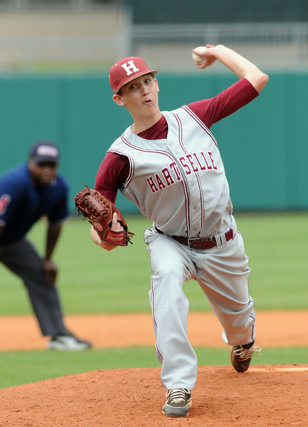 Brady Wallace pitches for Hartselle in the 5A AHSAA state championship finale won by Hartselle 3-2 over Spanish Fort at Riverwalk Stadium in Montgomery, Ala., May 18, 2013.  By David Bundy