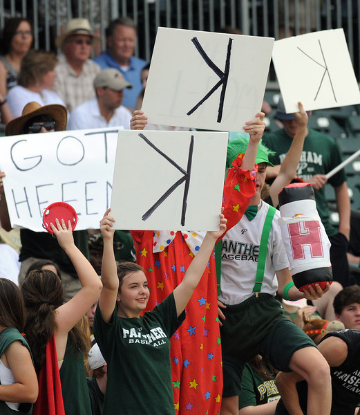 Pelham fans show their support at the 6A AHSAA state championship finale won by Pelham 1-0 over Hewitt-Trussville at Riverwalk Stadium in Montgomery, Ala., May 18, 2013.  By David Bundy