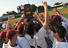 Huntsville players hold their trophy after they defeated Baldwin County in the 6A Alabama High School Athletic Association Baseball Championships at Riverwalk Stadium in Montgomery, Ala., Friday, May 20, 2011. Huntsville won the game 10-2 and won the championship. By David Bundy