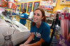 Abbie McCreanor of Ireland works at Mad Myrtle's Ice Creamery in Myrtle Beach, SC. J1 program international students-July, 2013. By David Bundy