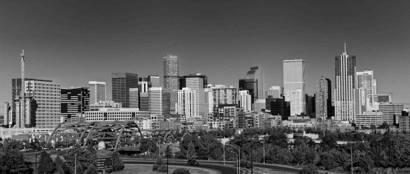 Denver Skyline as seen from LoHi - Monochrome version