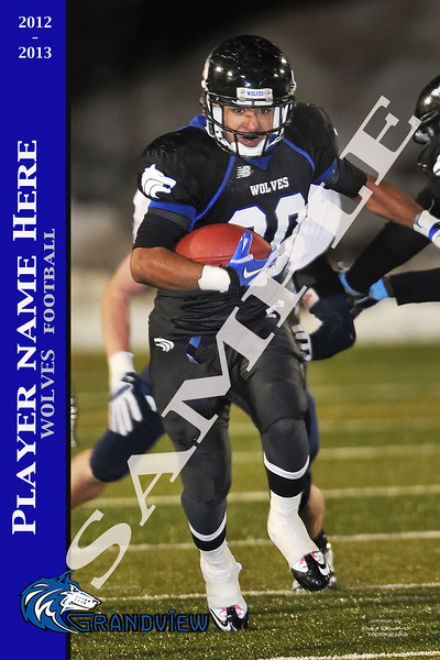 "Sample Poster with Action Photo and Player Information with team colors and Logo.  Can be done up to 20"" x30""."