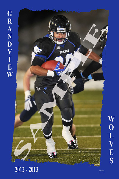 "Sample Poster with Grunge Border with Action Photo and Player Information with team colors and Logo. Can be done up to 20"" x30"""