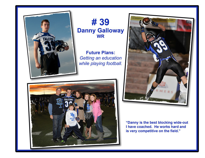 "Custom Photo Memory Book Page Sample.  This page is approximately 8.5"" x 11"" and in this example we have put together an Action Shot, an Individual Photo and something taken during Senior NIght festivities..  A typical design includes a dedicated page for each senior or player plus other custom information from the season or additional pages of action photos - really almost anything you want can be done here."