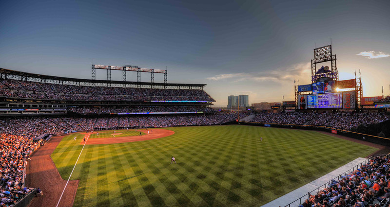 Coors Field at twilight.