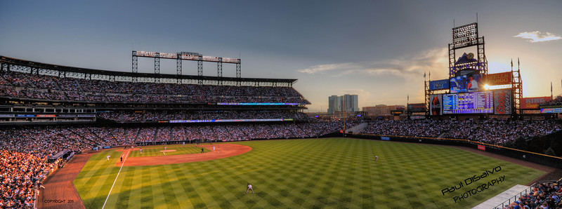 Coors Field Twilight shot cropped as a panorama.