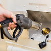 The operator demonstrates how to fuel a propane vehicles using a Staubli Nozzle and a Euro Fill Connector.