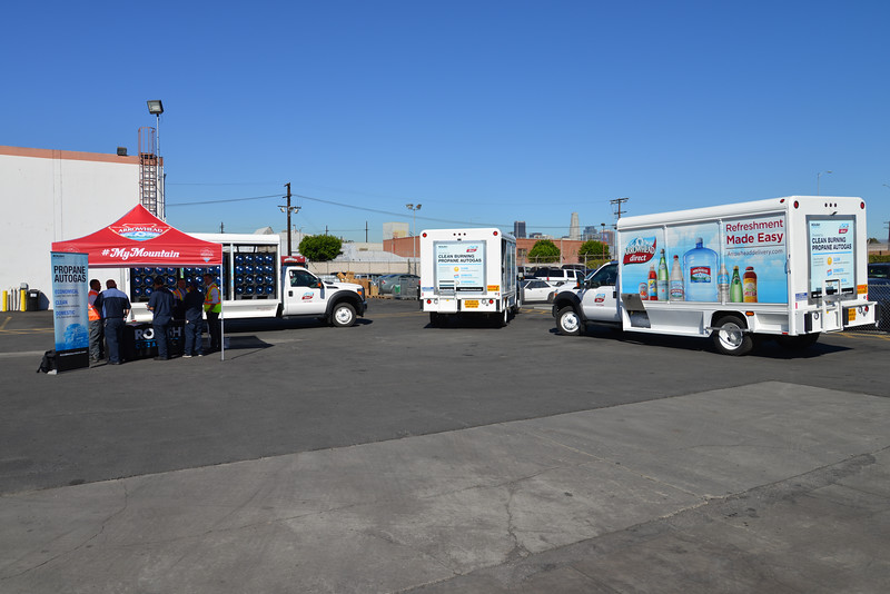 Nestlé Waters North America unveiled its first medium-duty beverage trucks equipped with ROUSH CleanTech propane autogas fuel systems in 2014. The clean-operating trucks will make deliveries in the Los Angeles area.